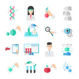 Biotechnology Flat Icons Set. With scientists chemical agricultural injections computer and professional equipment isolated vector illustration vector illustration