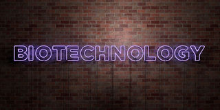 BIOTECHNOLOGY - fluorescent Neon tube Sign on brickwork - Front view - 3D rendered royalty free stock picture Royalty Free Stock Photography