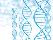Biotechnology and genetic data concept of helix shaped DNA strings. 3D render of blue double helix DNA strands for science and medical research Stock Images