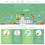 Biotechnology And Genetics One Page Template. Biotechnology and genetics one page advertising template for website with description of modern innovative vector illustration