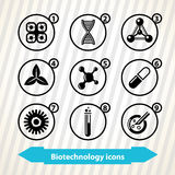 Biotechnology icons. Icons with biotechnology concept. Medicine, biotechnology icons stock illustration