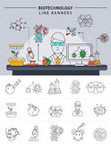 Biotechnology Line Banner Set. Biotechnology banner set in linear style scientist conducting experiments in his laboratory at work vector illustration Royalty Free Stock Photos