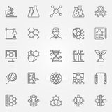Biotechnology line icons set Royalty Free Stock Photography