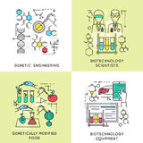 Biotechnology Linear Compositions. Including scientists and genetic engineering modified food and professional equipment isolated vector illustration Royalty Free Stock Images