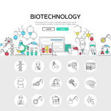 Biotechnology Linear Concept. Including scientific experiments composition and set of monochrome gene modification icons isolated vector illustation vector illustration