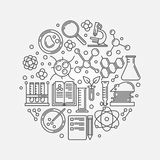 Biotechnology linear illustration. Biotechnology illustration - vector round outline education or science logo element Royalty Free Stock Images