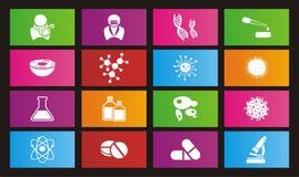 Biotechnology metro style icon sets - rectangle icon sets Royalty Free Stock Photos