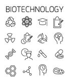 Biotechnology related vector icon set. Well-crafted sign in thin line style with editable stroke. Vector symbols isolated on a white background. Simple Royalty Free Stock Photos