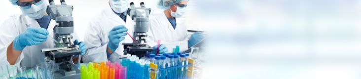 Biotechnology research scientists team stock photo