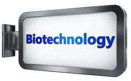 Biotechnology on billboard background. Biotechnology wall light box billboard background , isolated on white Royalty Free Stock Photos