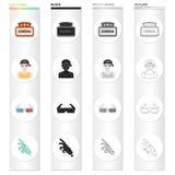 Biotecken, tittare, 3D exponeringsglas, specialeffekter, mekanisk hand Svärtar fastställda samlingssymboler för film och för bio  Royaltyfri Bild