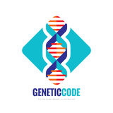 Biotecnologia del DNA - vector l'illustrazione di concetto del modello di logo Simbolo creativo di scienza medica Codice genetico royalty illustrazione gratis