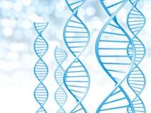 Bioteknik och det genetiska databegreppet av spiralen formade DNA:t stränger stock illustrationer