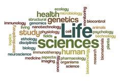 Biowissenschaften - Wort-Wolke Stockfotografie