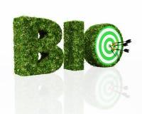 Biowort verfasst durch Gras mit einer Dartscheibe und Pfeilen stock abbildung