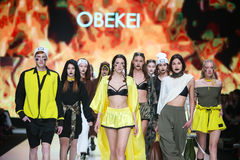 Bipa Fashion.hr fashion show 2017 : Obekei, Zagreb, Croatia. ZAGREB, CROATIA - MARCH 30, 2017 : Fashion model wearing clothes for spring - summer, designed by Stock Image