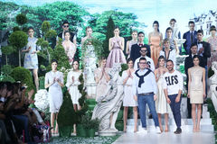 Bipa Fashion Show: Elfs, Zagreb, Croatia. ZAGREB, CROATIA - MARCH 18, 2016 : Designers Ivan Tandaric and Aleksandar Sekuljica with models wearing clothes Royalty Free Stock Photos