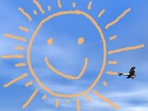 从biplan烟的微笑的太阳- 3D回报 免版税库存图片