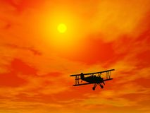 Biplan in burning sky - 3D render Royalty Free Stock Photography