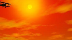 Biplan in burning sky - 3D render stock illustration