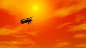 Biplan i brinnande himmel - 3D framför stock illustrationer