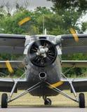 Biplan på flygfält Arkivfoton