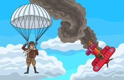 Biplan rozbijający Obraz Royalty Free