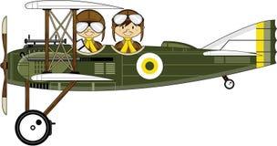 Biplane και πιλότοι κινούμενων σχεδίων WW1 Στοκ Εικόνες