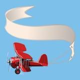 Biplane κινούμενων σχεδίων με το έμβλημα Στοκ φωτογραφία με δικαίωμα ελεύθερης χρήσης