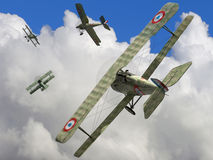 Biplane. The fighter biplane of time period the World War I. 3D visualisation Stock Photography