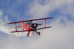 Biplane. An old red biplane in air show Stock Photo