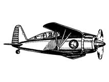 Biplane aircraft in flight. Vintage style vector illustration Stock Images