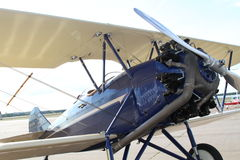 Biplane at airport Stock Photo