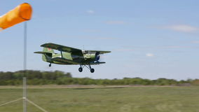Biplane An-2 (Antonov)  at the on takeoff stock video
