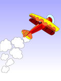Biplane on blue sky. Vector drawing of a biplane with smoke trail Stock Photos