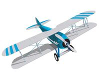 Biplane with blue and white coating. Model aircraft propeller with two wings. Plane from World War. Old retro aircraft. Jet designed for poster printing vector illustration