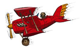 Biplane cartoon. Vector hand draw doodle sketch biplane cartoon Stock Image