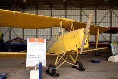 Biplane DE HAVILLAND DH-82C TIGER MOTH. MUSEUM OF THE AIR FORCE IDF. HATZERIM - FEBRUARY 02, 2012: Biplane DE HAVILLAND DH-82C TIGER MOTH Stock Photo