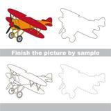 Biplane. Drawing worksheet. Royalty Free Stock Images