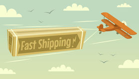 Biplane and fast shipping. Vector illustration Royalty Free Stock Photography