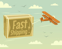 Biplane and fast shipping stock illustration