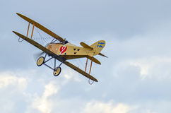 Biplane fighter flying Royalty Free Stock Photography