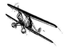 Biplane in flight. Biplane aircraft in flight. Vintage style vector illustration Stock Image