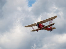 A Biplane in Flight Stock Image
