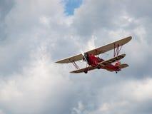 A Biplane in Flight Stock Image
