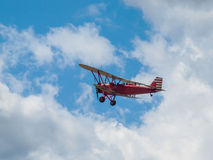 A Biplane in Flight Royalty Free Stock Images