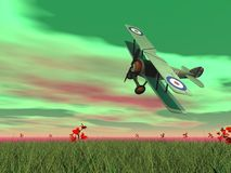Biplane flying - 3D render Royalty Free Stock Photos