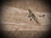 Biplane flying - 3D render Royalty Free Stock Image