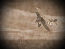 Biplane flying - 3D render Royalty Free Stock Image