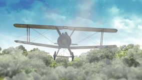 Biplane Flying Over Tree Tops and Clouds 4K Loop. Features an animated biplane flying over treetops and through clouds in a loop stock footage